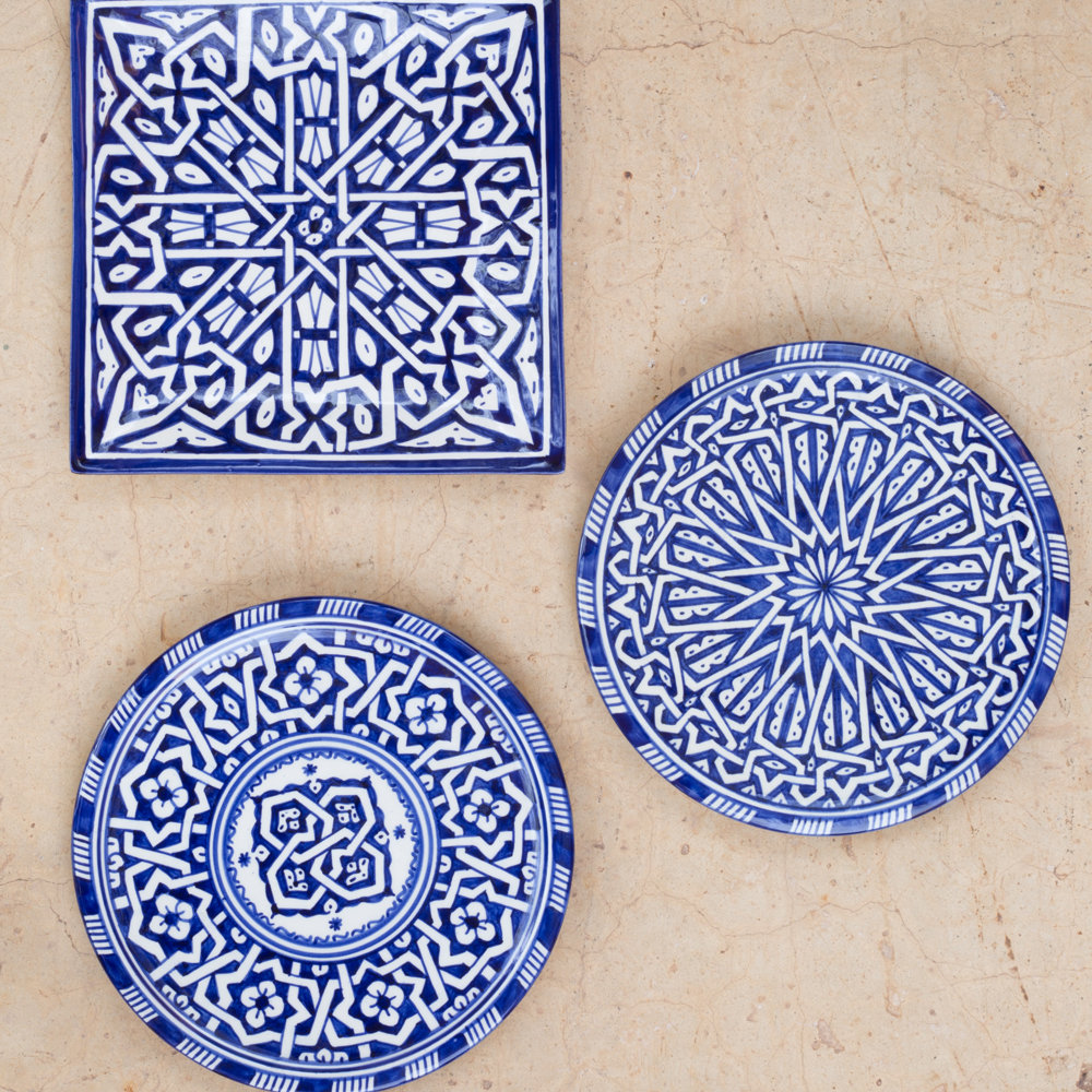 Blue Moroccan Oriental Salad Plates, Set of 4
