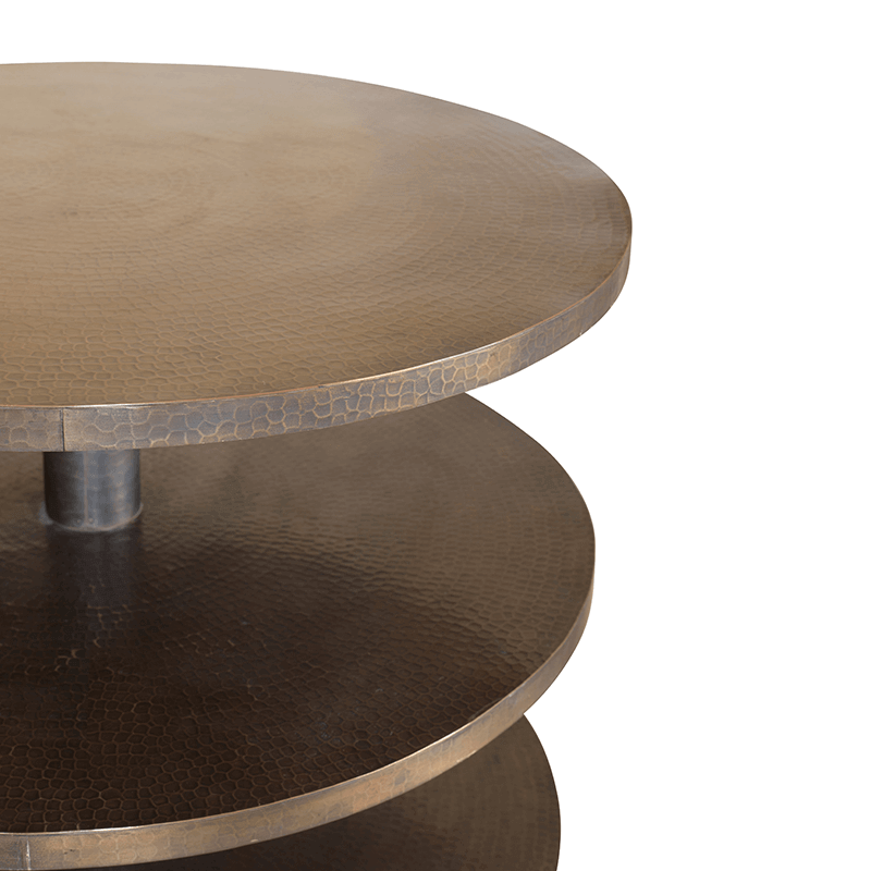 Round Brass Metal Side Table
