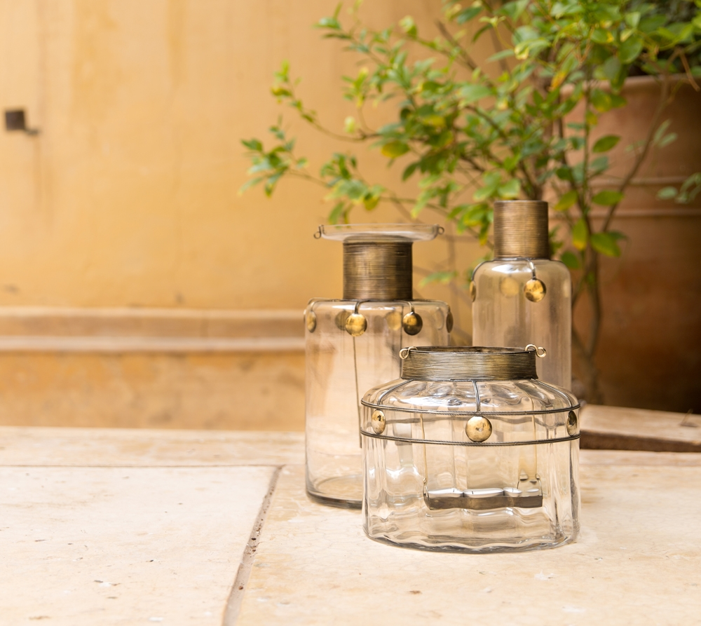 Glass and Brass Moroccan Vase Candle holder