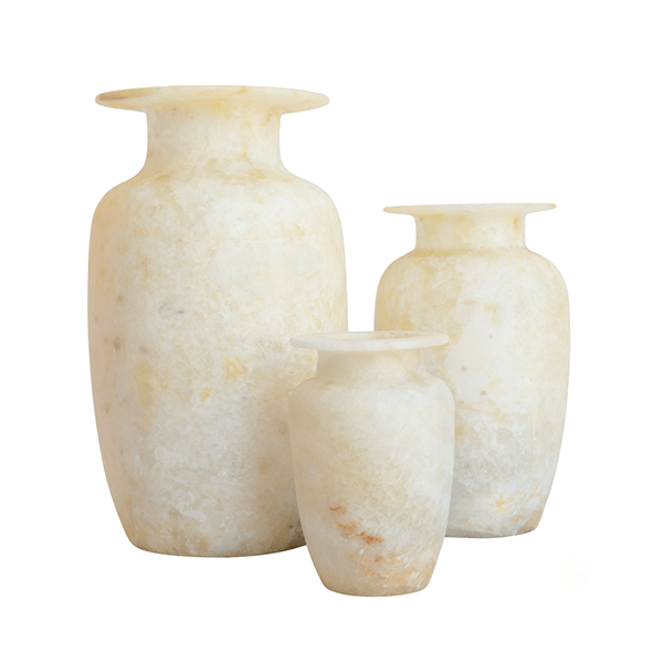 Jnane Tamsna Alabaster Urn Vases, Set of 3