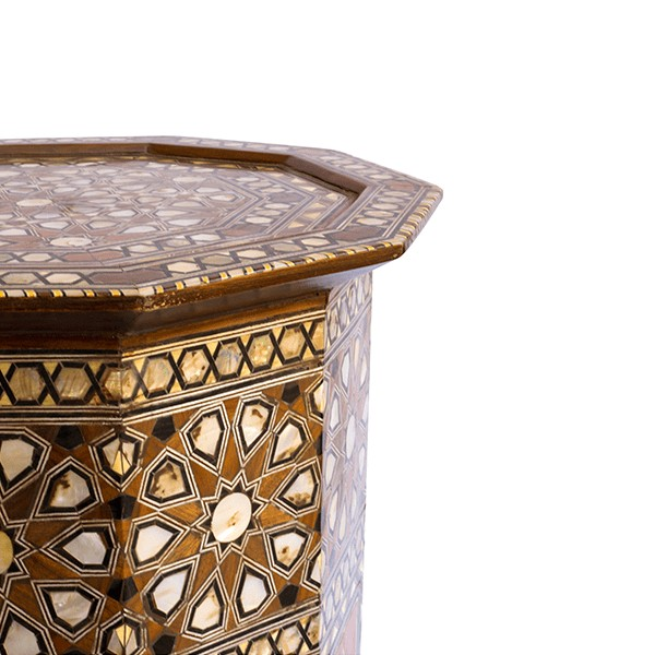 Carved Wood and Mother of Pearl Side Tables, Set of 2