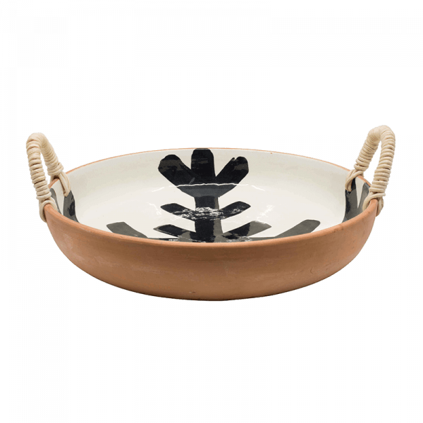 Bouchra Boudoua White and Black Terracotta Fruit Plate