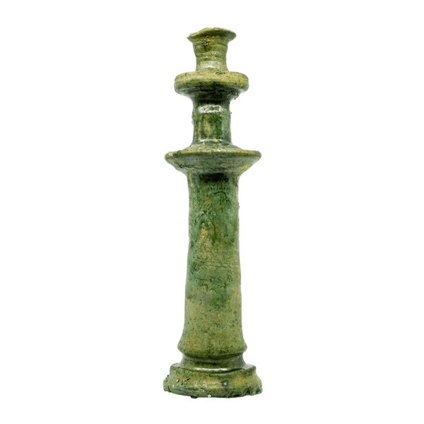 Green Terracotta Candlesticks, Set of 2