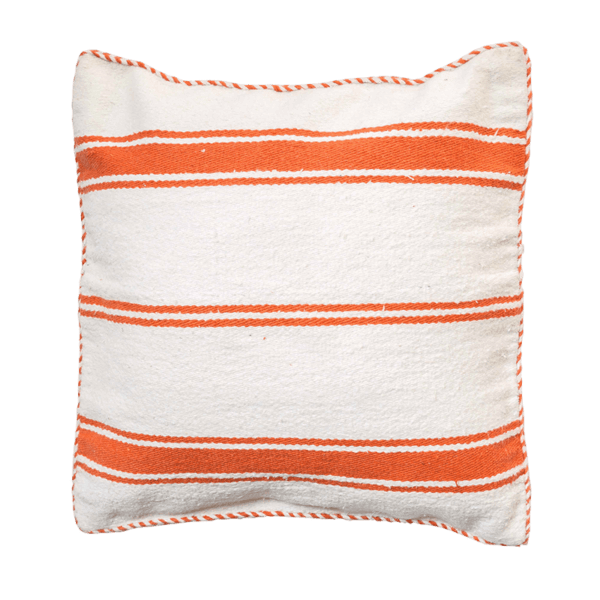 Orange Cotton Striped Cushion