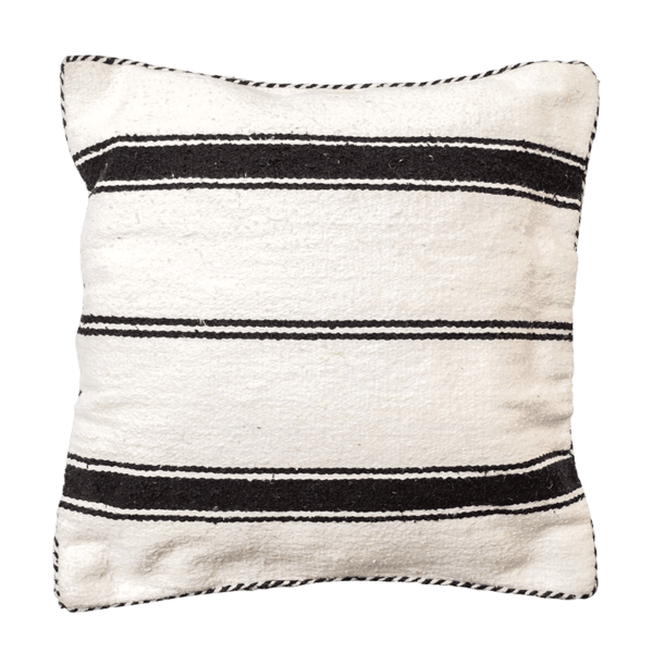 Black Cotton Striped Cushion