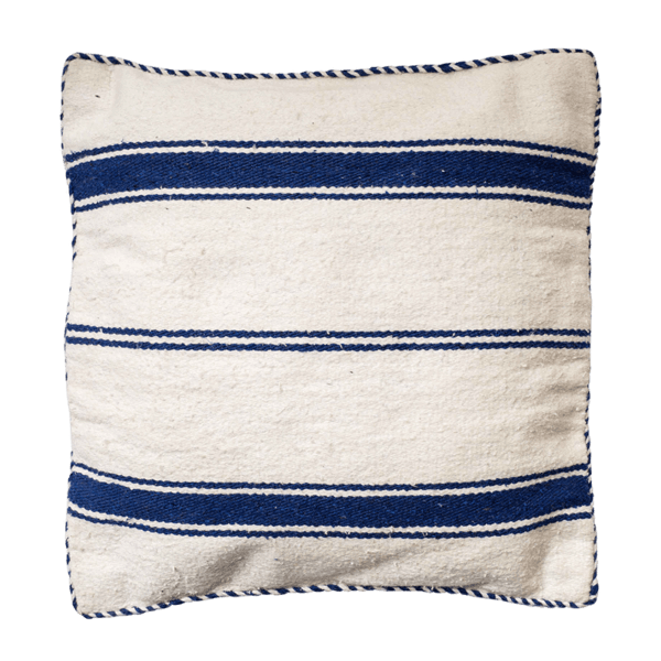 El Fenn Blue Cotton Handmade Moroccan Striped Cushion