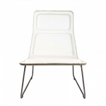 White Low Pad Leather Armchair