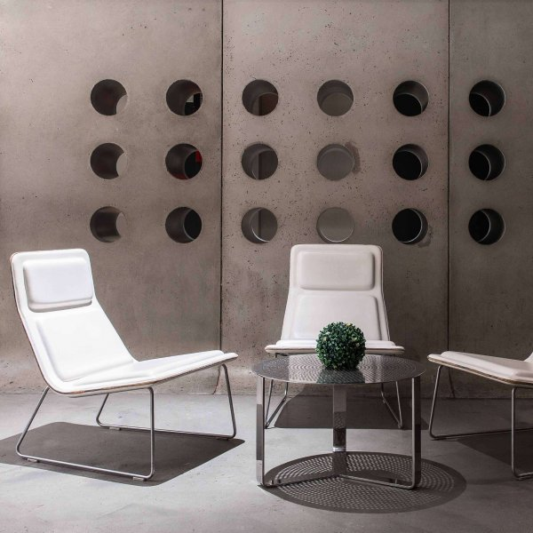 Hotel Americano White Low Pad Leather Armchair