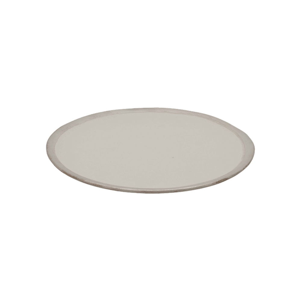 Cream and Silver Dinner Plate