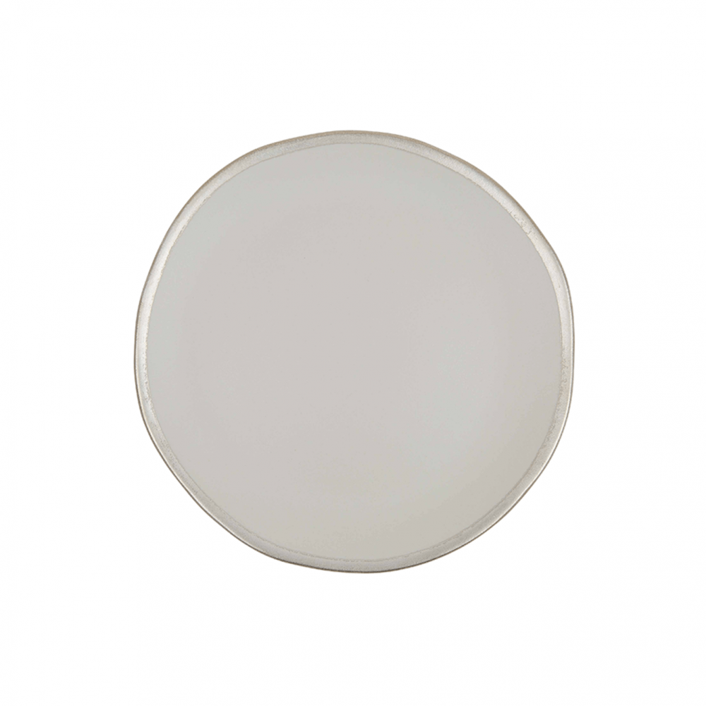 Cream and Silver Side Plate