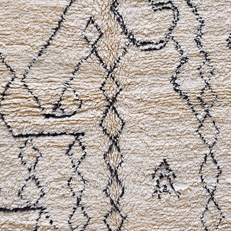 Cream and Black Beni Ouarain Rug