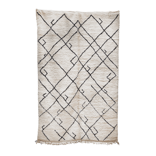 Cream and Black Beni Ourain Rug