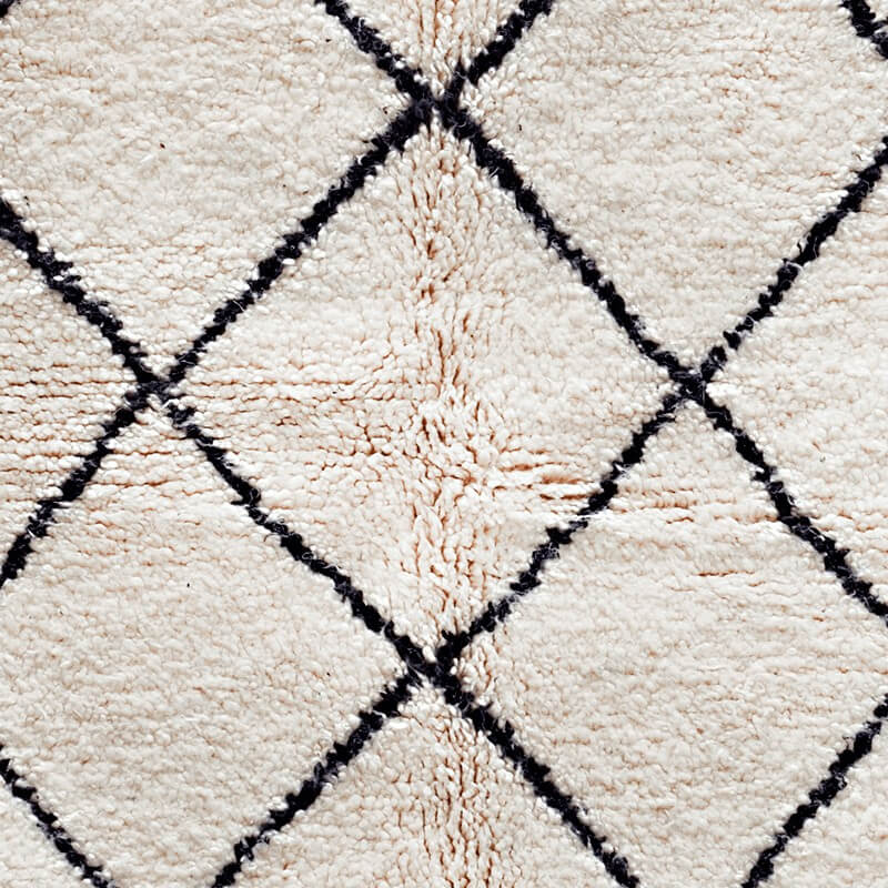 Cream and Black Classic Beni Ourain Rug