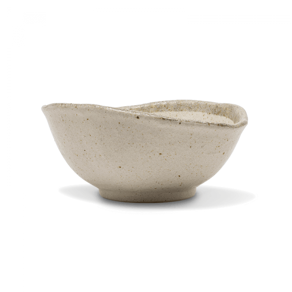 Cream Grey Rimmed Irregular Bowls, Set of 4