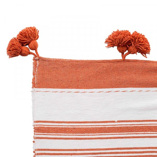 Orange Moroccan Pom Pom Throw