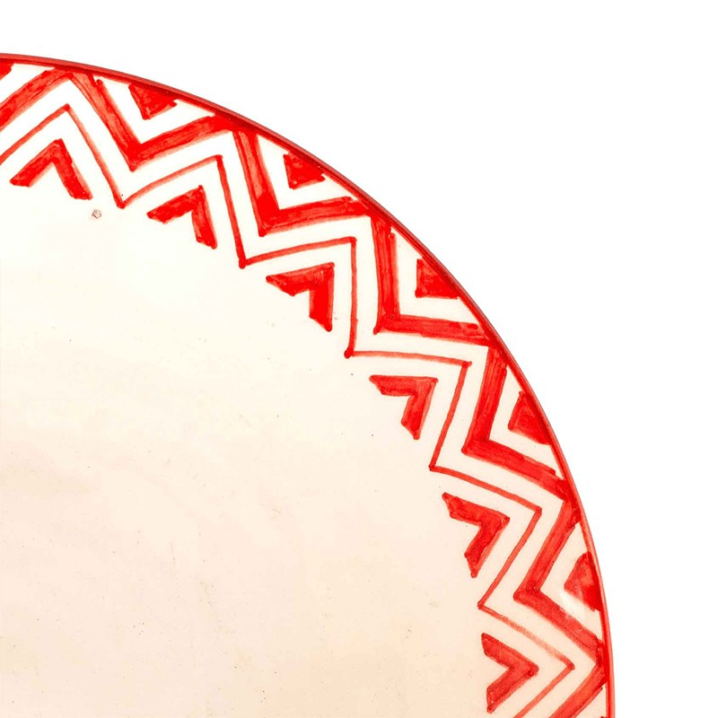 Orange and White Moroccan Dinner Plate