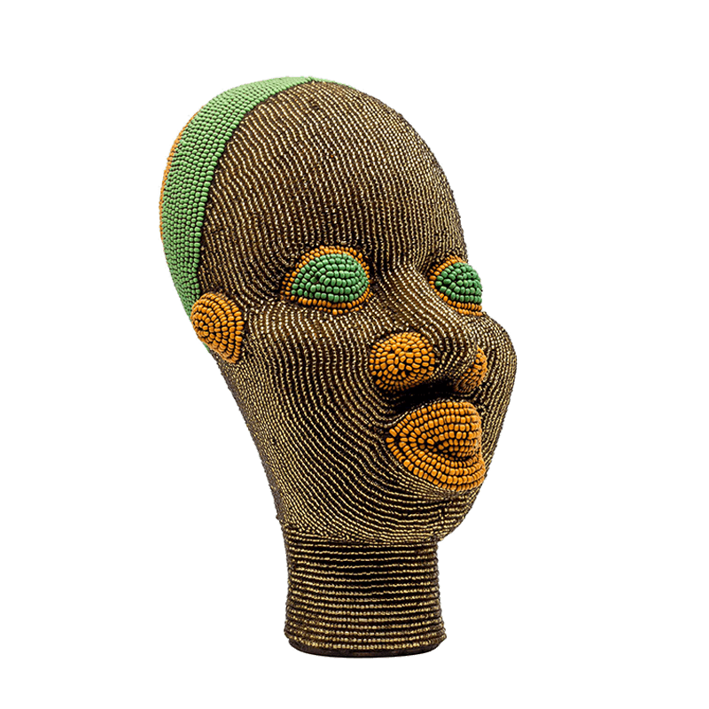 Small African Beaded Head Ornament in Brown