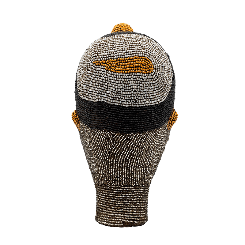 Small African Beaded Head Ornament in Grey