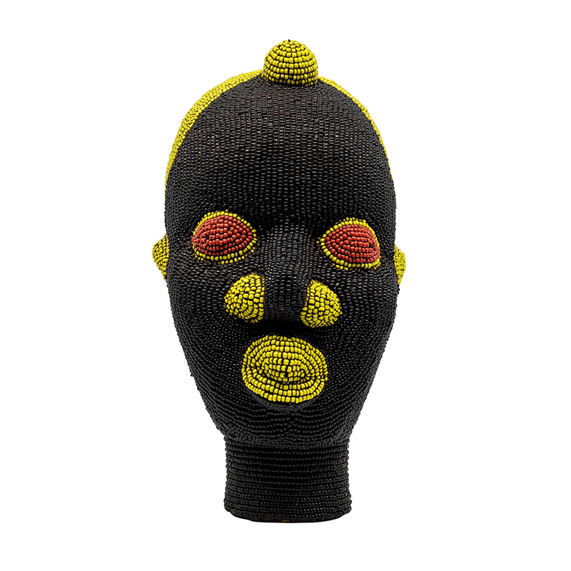 Small African Beaded Head Ornament in Green