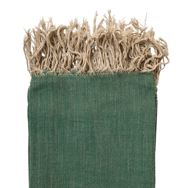 El Fenn Green Handwoven Cotton Moroccan Throw