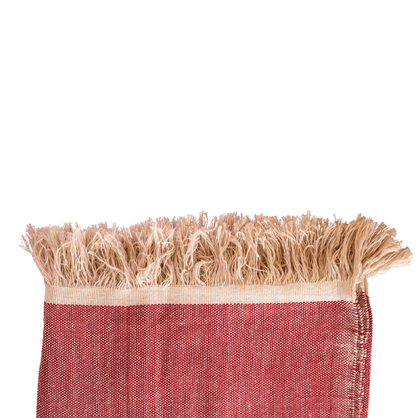El Fenn Red Handwoven Cotton Moroccan Throw