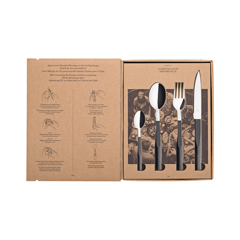 Stark Mirror Finish Black Truffle Cutlery, 24 Pieces Set