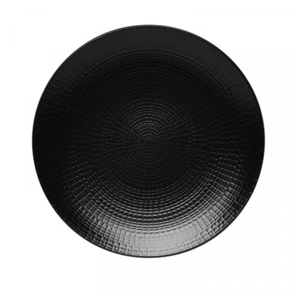 Frenchie Modulo Nature Black Round Bread Plate, Set of 6