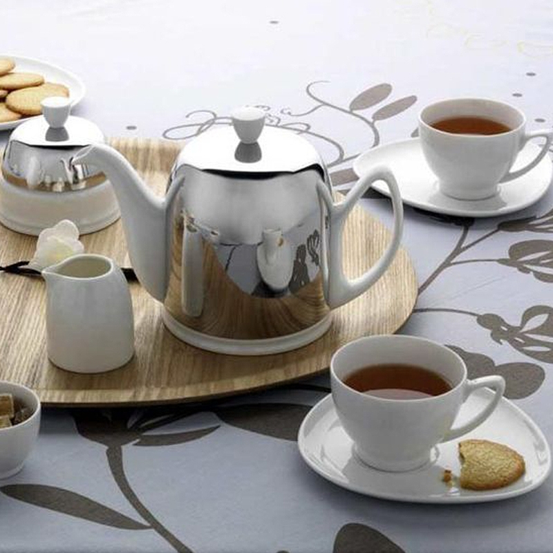 Frenchie Salam White 6 cups Tea Pot With Black Felt Bright