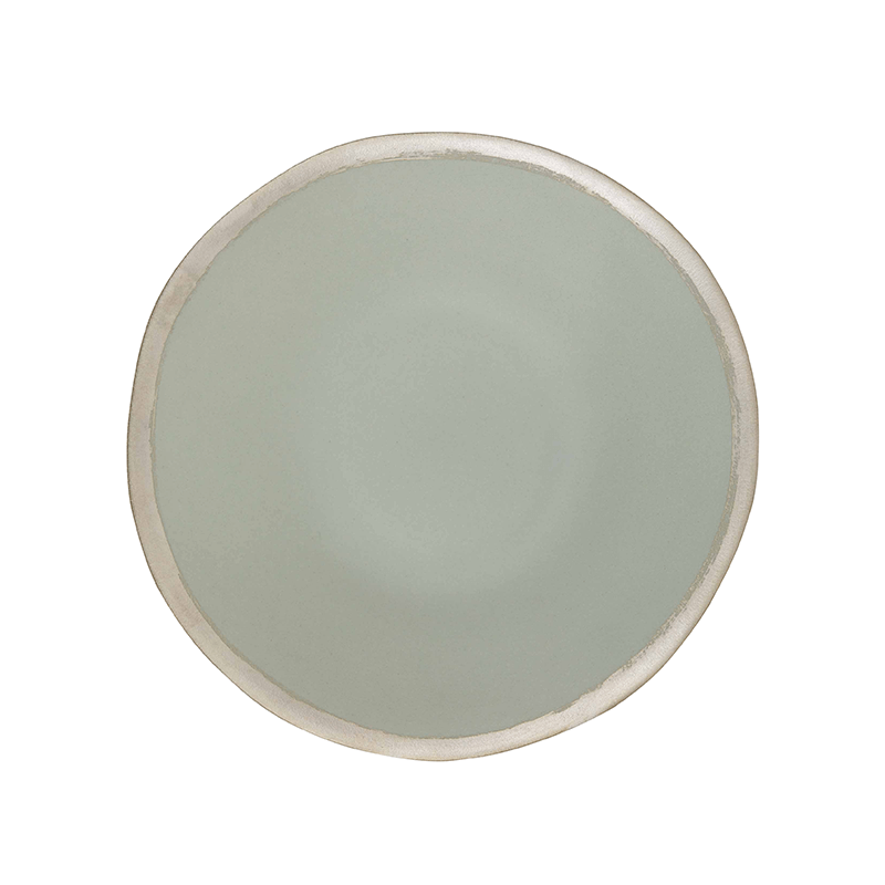 Grey with Contrast Rim Ceramic Shallow Bowl