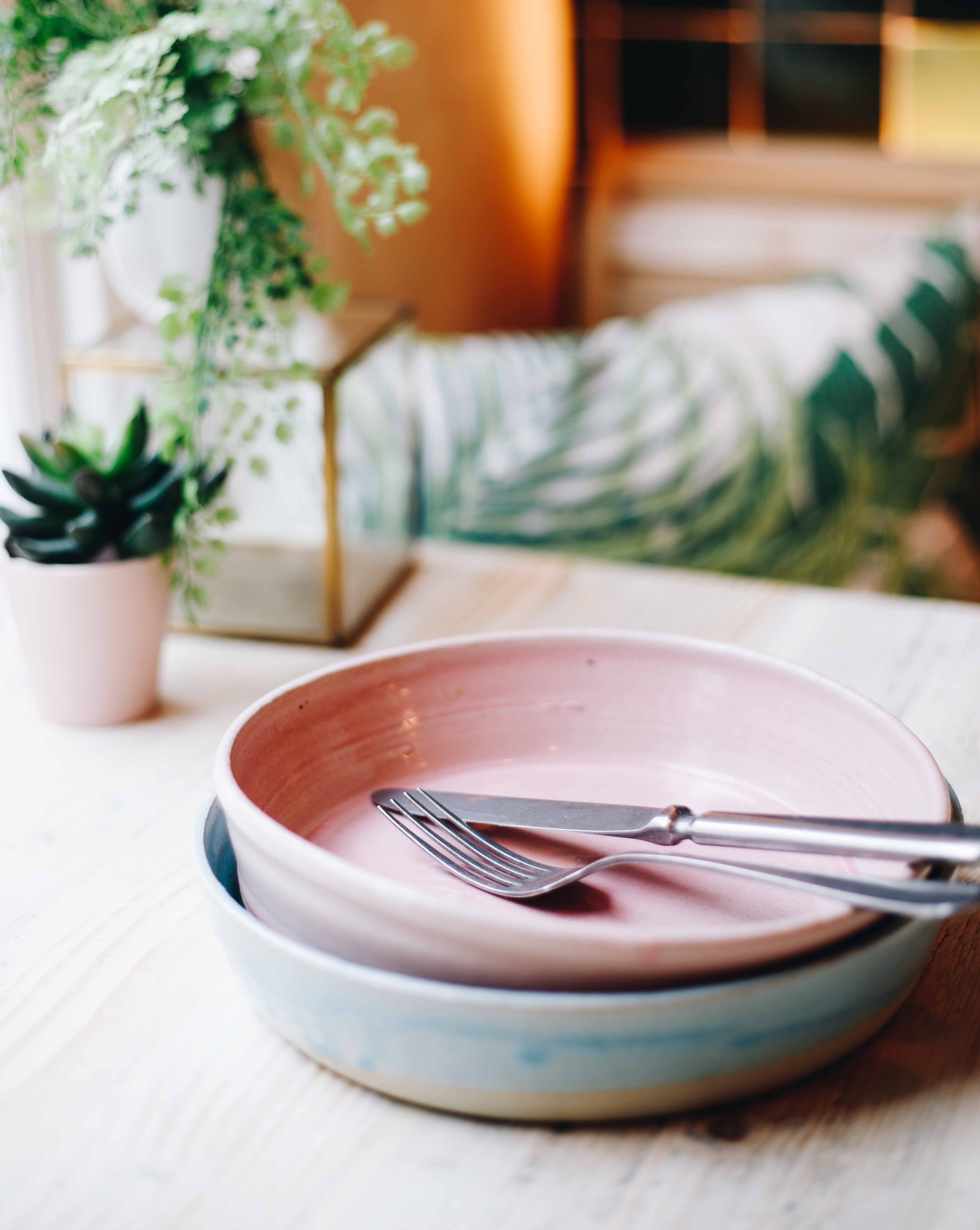 Pink and White Terracotta Deep Plates, Set of 4 or 6
