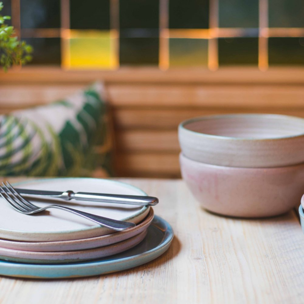 Mint and White Terracotta Bowls, Set of 4 or 6