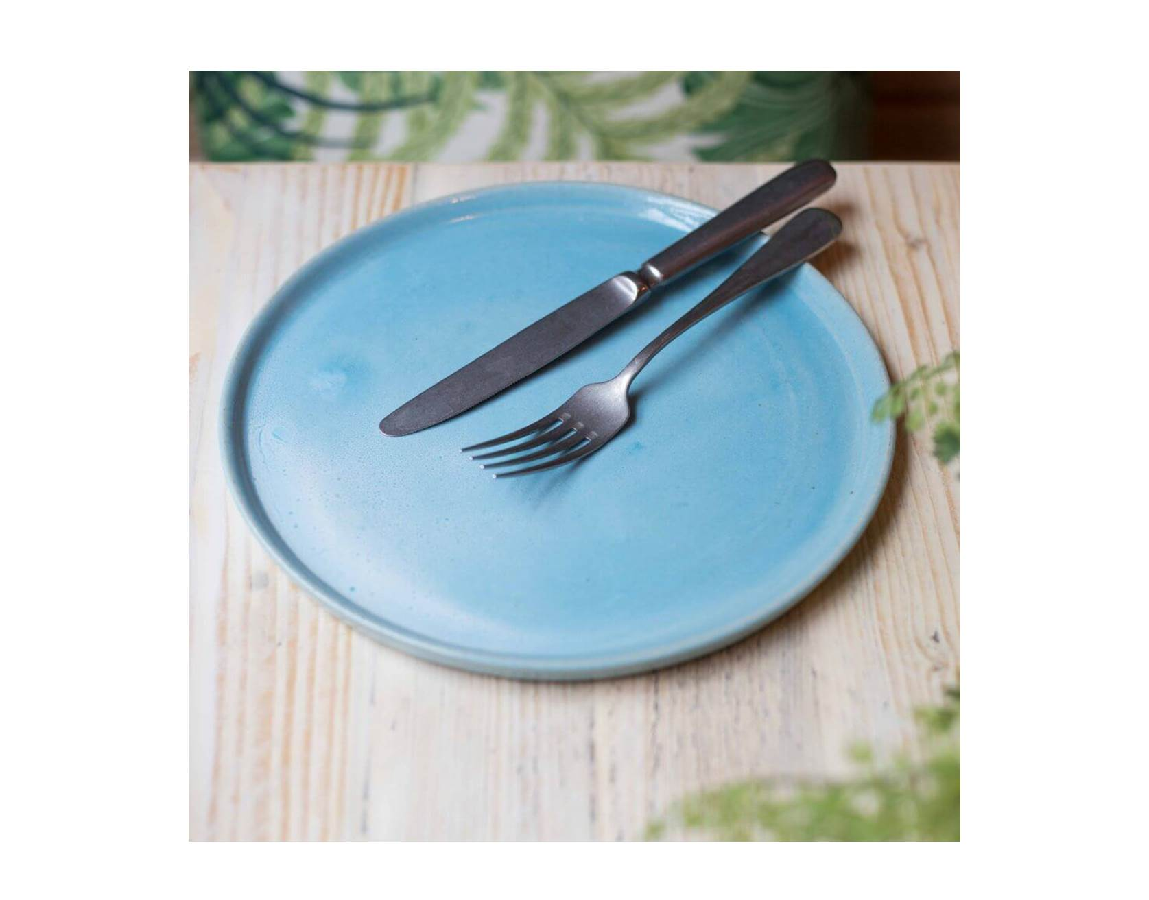 Large Blue Terracotta Plates, Set of 4 or 6