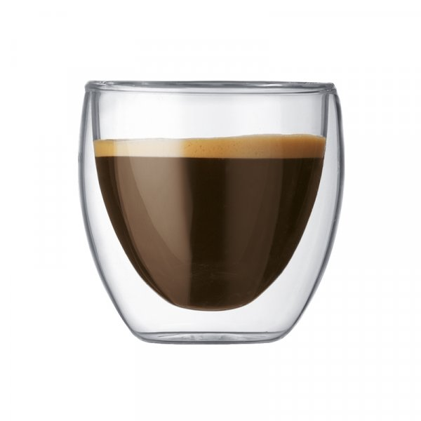 Bodum Pavina Double Walled Glass Small Espresso Cups, Set of 2 or 6