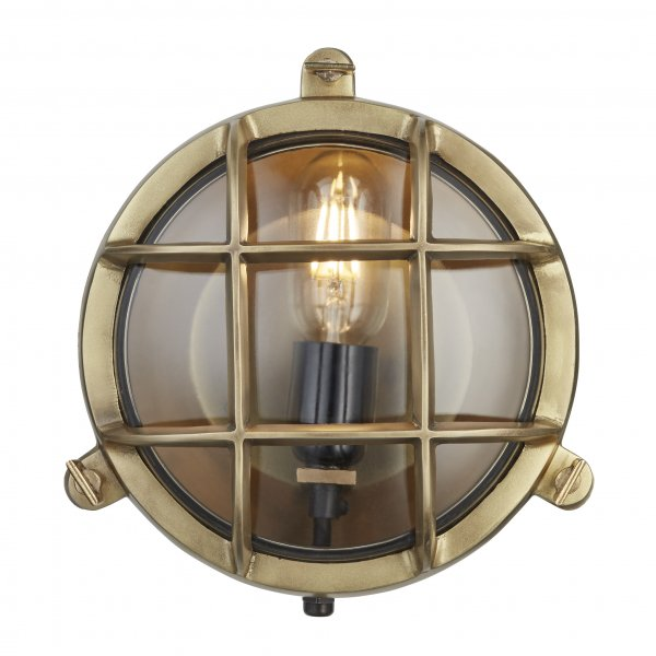 Bulkhead Outdoor & Bathroom Round Brass 8 inch Light