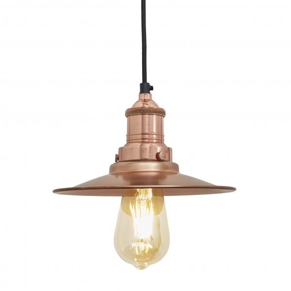 Brooklyn Flat Copper 8 Inch Pendant Light