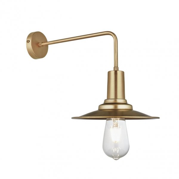 Long Arm Flat Brass 8 inch Wall Light