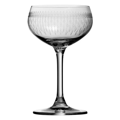 Retro Coupe Glass 1920 Engraved Cocktail Glasses, Set of 6