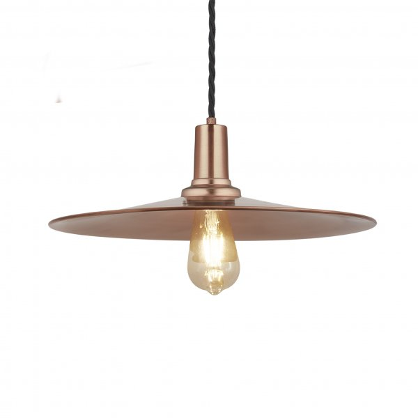 Sleek Copper Flat 15 Inch Pendant Light