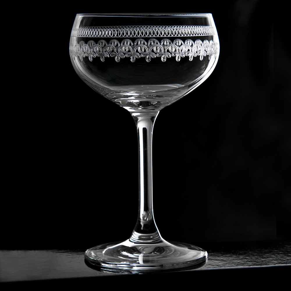 Retro Coupe Glass 1910 Engraved Cocktail Glasses, Set of 6