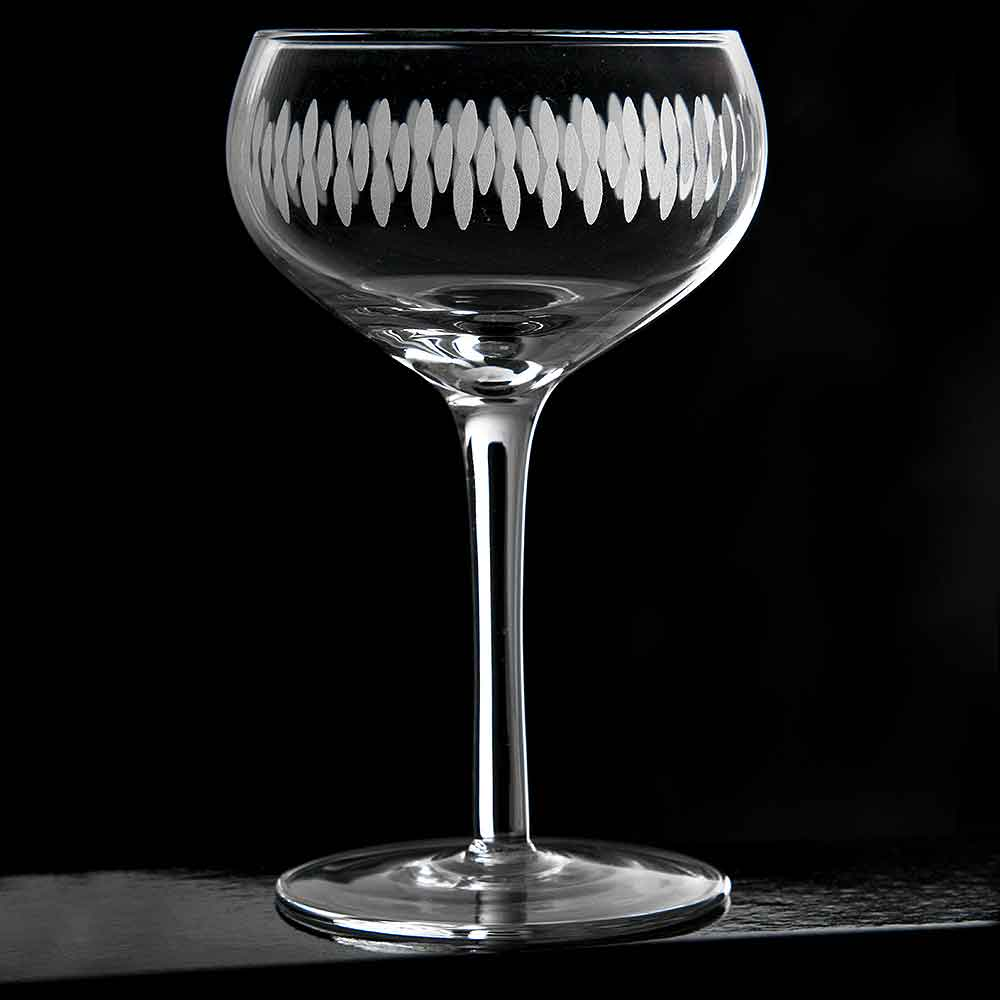 Retro Engraved Coupe Glass, Set of 6