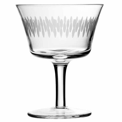 Retro Fizz Engraved Cocktail Glass, Set of 6