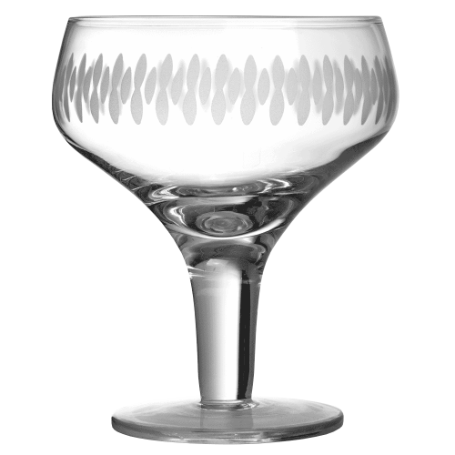 Retro Margarita Glass Engraved, Set of 6