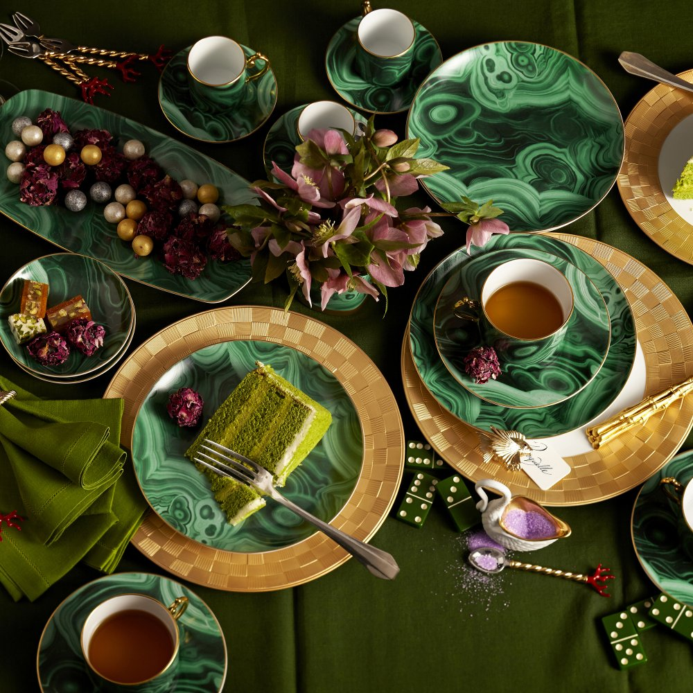 Malachite and Gold Tea Cup