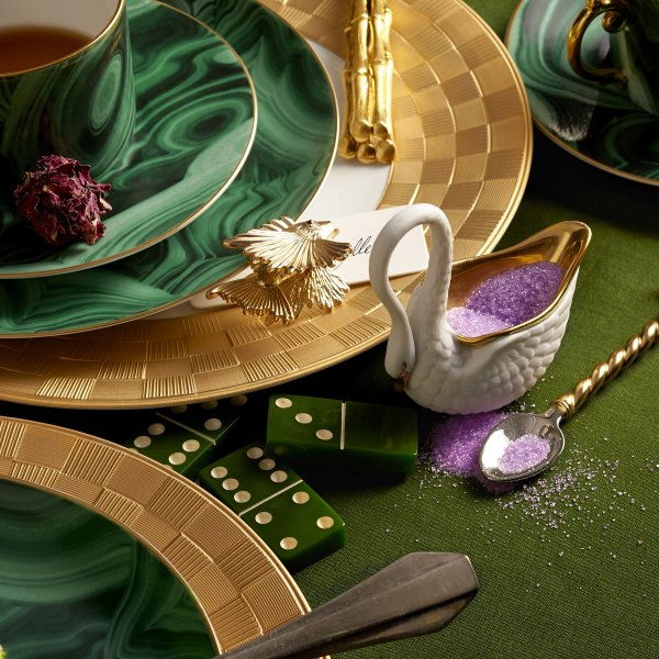 St. James Malachite and Gold Saucer