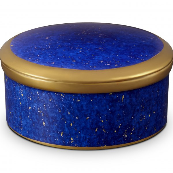 Lapis Round Box with Hand-Gilded 24K Gold