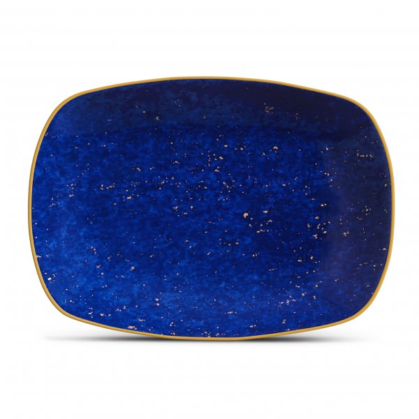 Small Lapis Rectangular Tray with Hand-Gilded 24K Gold