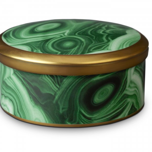 St. James Malachite Round Box with Hand-Gilded 24K Gold