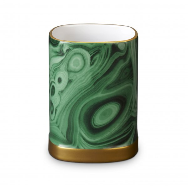 Malachite Pencil Cup with Hand-Gilded 24K Gold