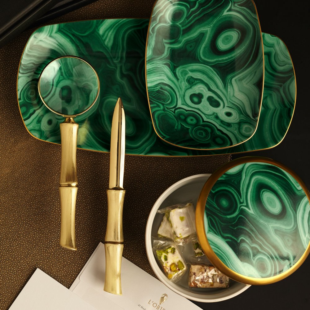 Malachite Round Box with Hand-Gilded 24K Gold