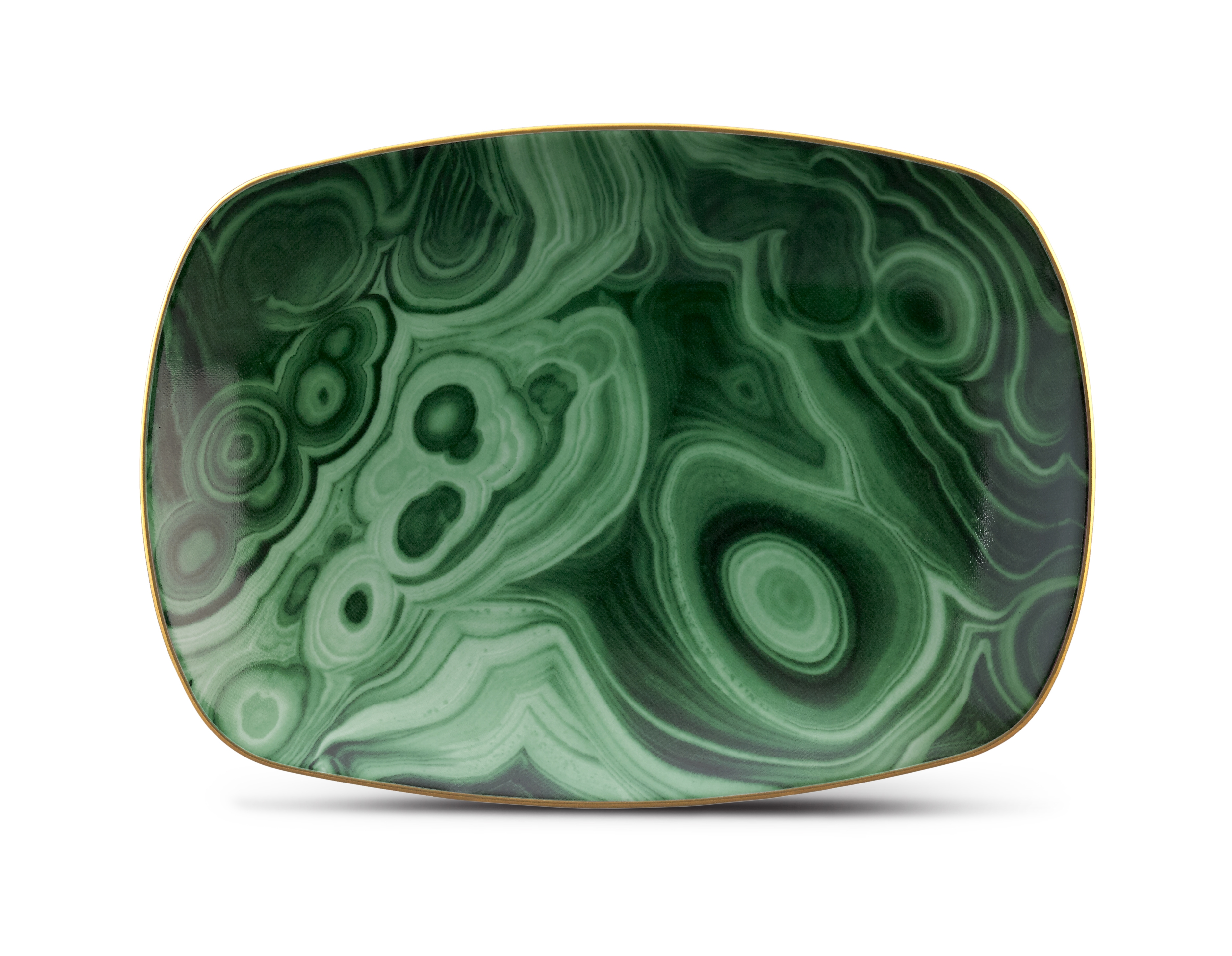 Malachite Small Rectangular Tray with Hand-Gilded 24K Gold